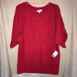 Studio Works Red Short Sleeve Sweater